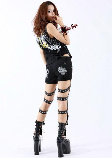Sexy PUNK Kera Goth Visual kei broken skull pants PA08