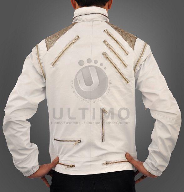 Michael Jackson Beat IT White Leather Jacket Metal Mesh