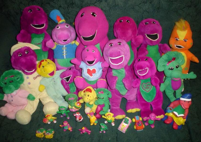 Huge Barney the Dinosaur Plush Figure BJ Baby Bop Lot
