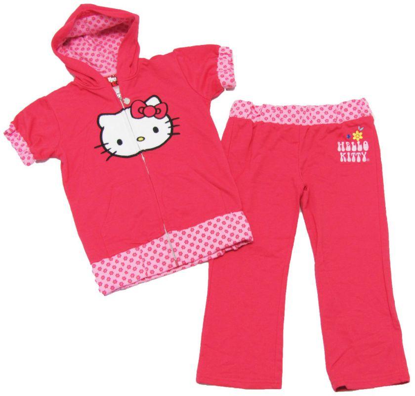 HELLO KITTY Girls Pink Hoodie & Crop Pants Set NEW