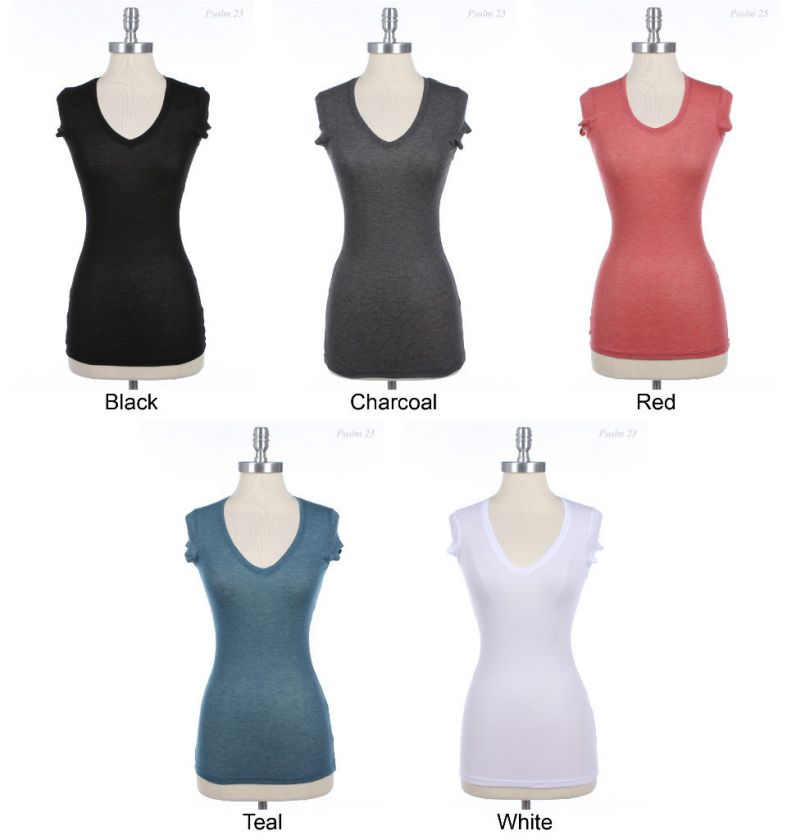 Solid Plain Cap Sleeve V Neck T Shirt Top Comfy VARIOUS COLOR and SIZE