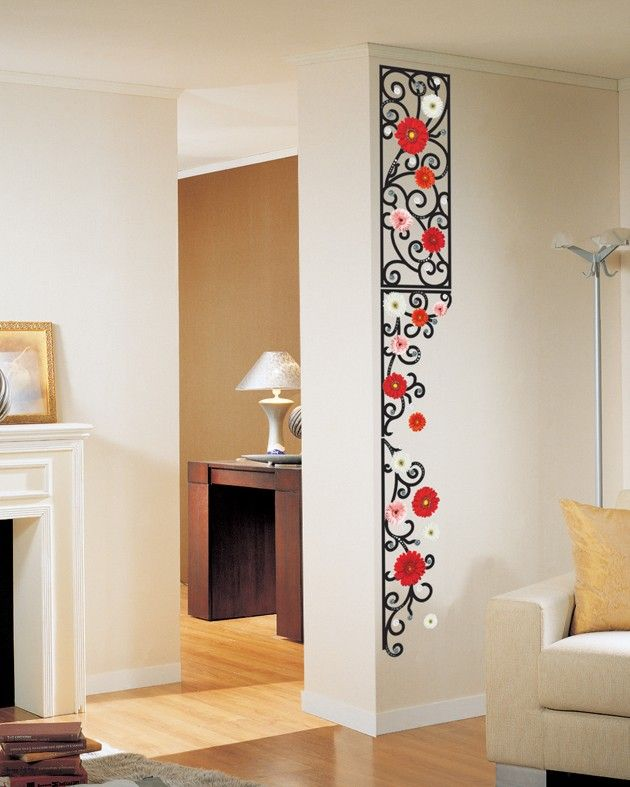 Flowers Adhesive Removable Wall Decor Accents Stickers Decals Paper