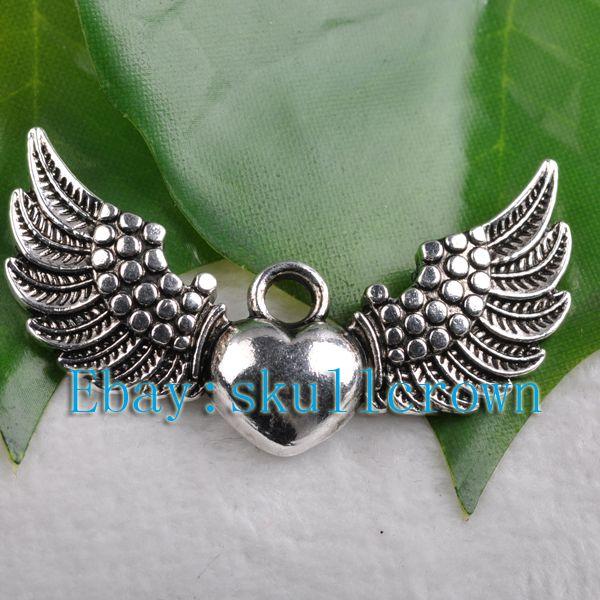 FREE SHIP 30pcs Tibetan Silver Heart Wing Charms LP5595