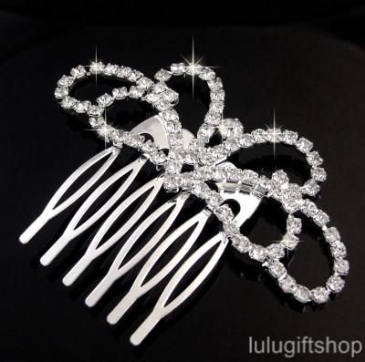 WEDDING BRIDAL PARTY SILVER PLATED CRYSTAL HAIR COMB