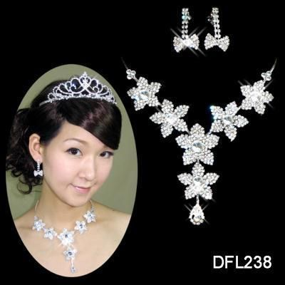 Wedding Bridal crystal necklace earring Sliver Jewelry set TL0238