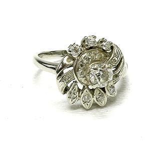 Antique 14k white gold & Diamond ladies cocktail ring