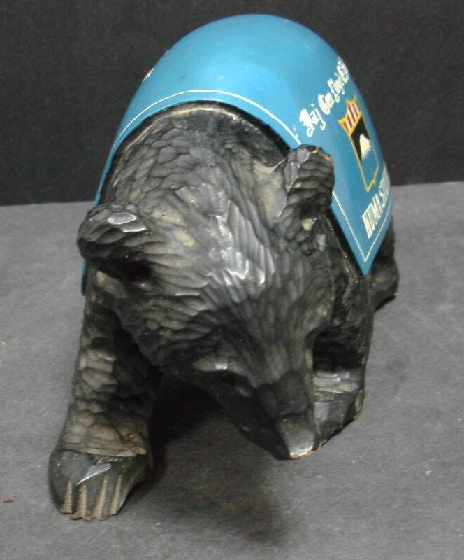 Army Security Agency Kuma Station Ainu Carved Military Bear, NR