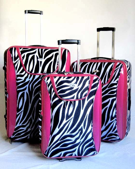 Piece Luggage Set Travel Bag Rolling Wheel Pink Zebra